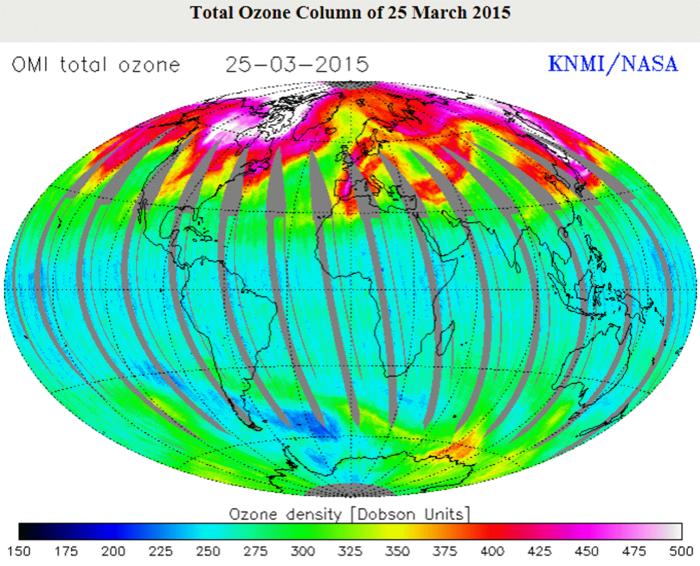 global ozone map 2015