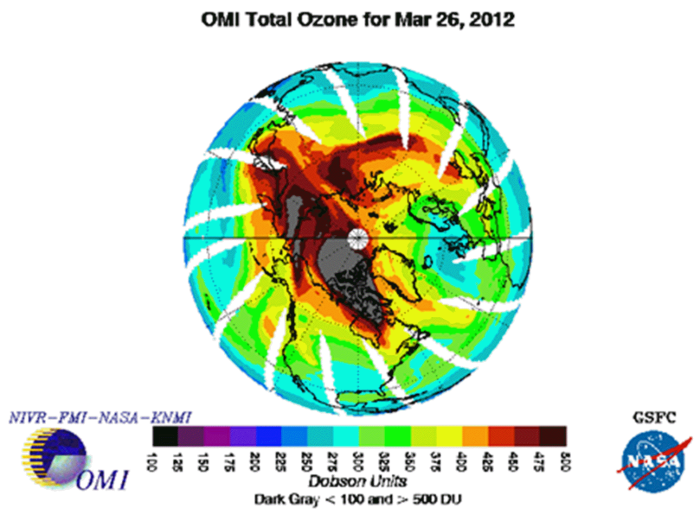 omi total ozone 2012 chart nasa