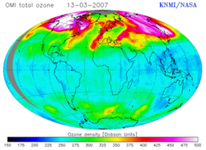 total ozone map 2007, showing major seasonal ozone accumulations over the magnetic highs of Canada and Siberia