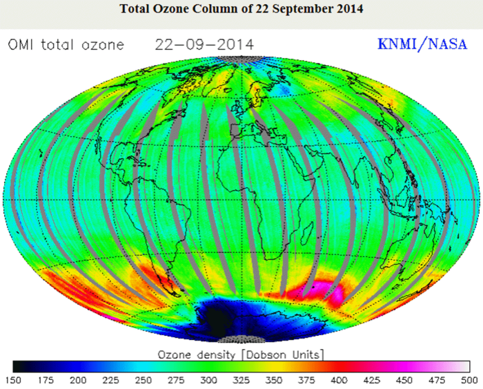 total ozone map 2014, ozone deposit strongly associate with south magnetic pole